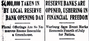 Image- Newspaper Headlines on Opening of the Federal Reserve