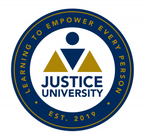 Justice University seal and motto