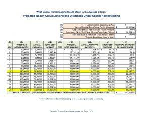 Projected Capital Homestead Accumulations